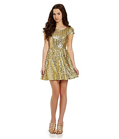B. Darlin Cap-Sleeve Sequin Skater Dress