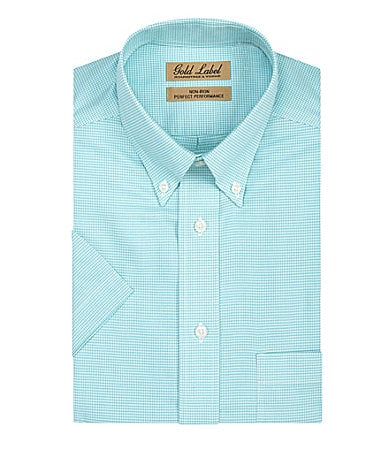 Gold Label Roundtree & Yorke Short-Sleeve Houndstooth Sportshirt