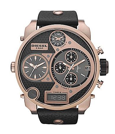 Gold and black diesel watch
