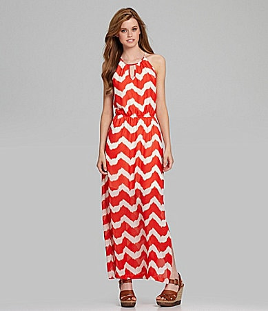 GB Chevron Striped Maxi Dress