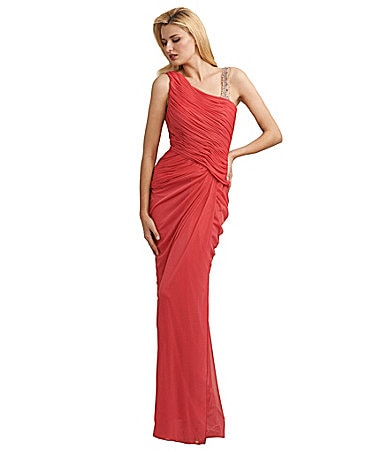 Adrianna Papell Jeweled-Strap Gown