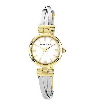 Anne Klein Women's Two-Tone X Shape Bangle Watch