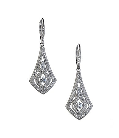 Nadri Pave Cubic Zirconia Ornate Leverback Earrings