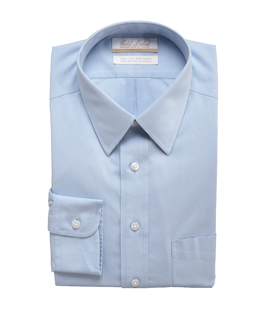 Gold Label Roundtree & Yorke Non-Iron Regular Full-Fit Point-Collar Solid Dress Shirt