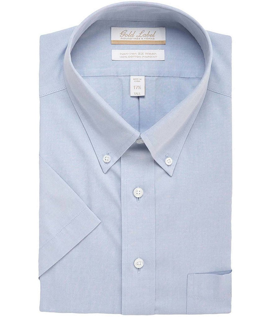 Gold Label Roundtree & Yorke Non-Iron Regular Solid Full-Fit Short-Sleeve Button-Down Collar Dress Shirt