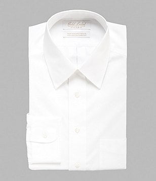 Gold Label Roundtree & Yorke Non-Iron Fitted Solid Classic-Fit Point-Collar Dress Shirt