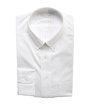 Gold Label Roundtree & Yorke Non-Iron Solid Fitted Classic-Fit Button-Down Collar Dress Shirt