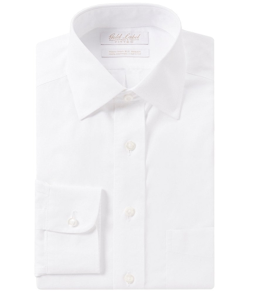 Gold Label Roundtree & Yorke Non-Iron Solid Fitted Classic-Fit Spread-Collar Dress Shirt