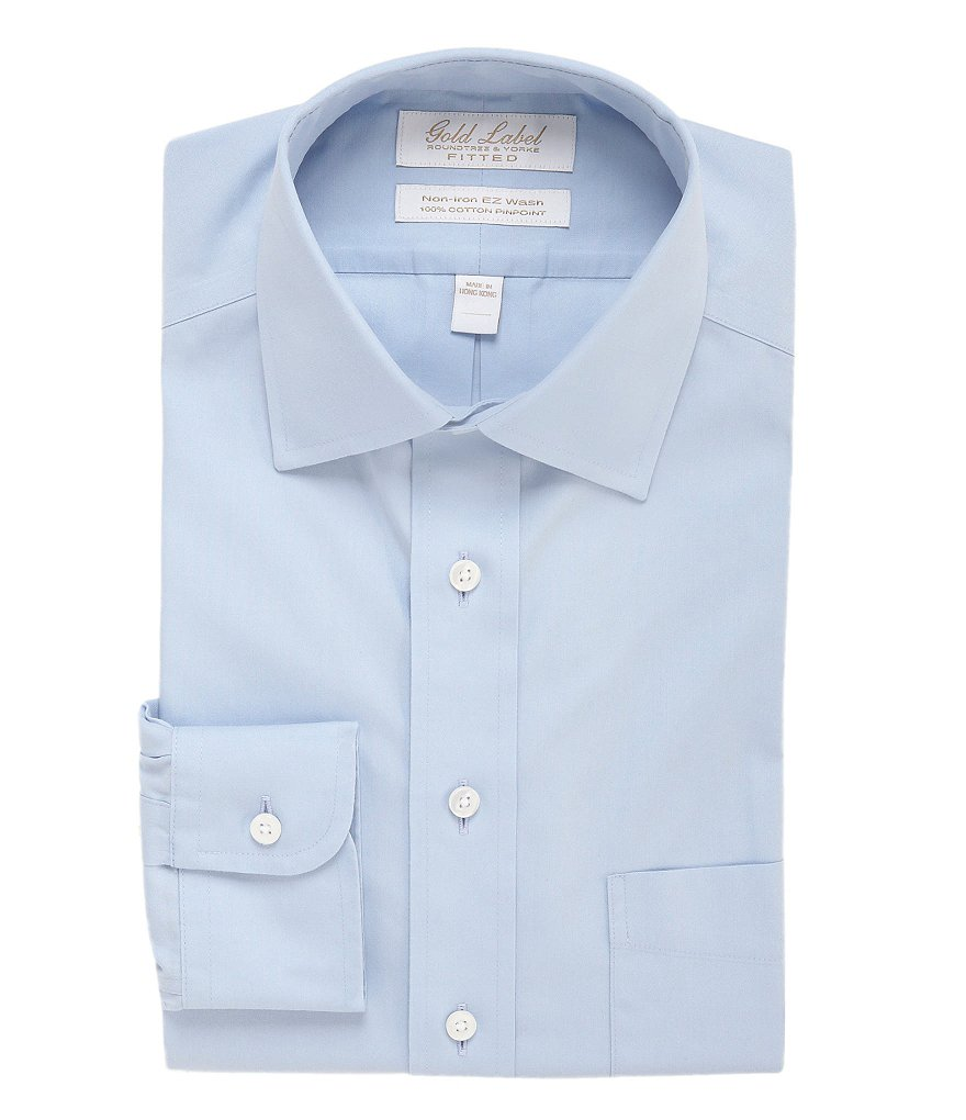 Gold Label Roundtree & Yorke Non-Iron Fitted Classic-Fit Spread Collar Dress Shirt