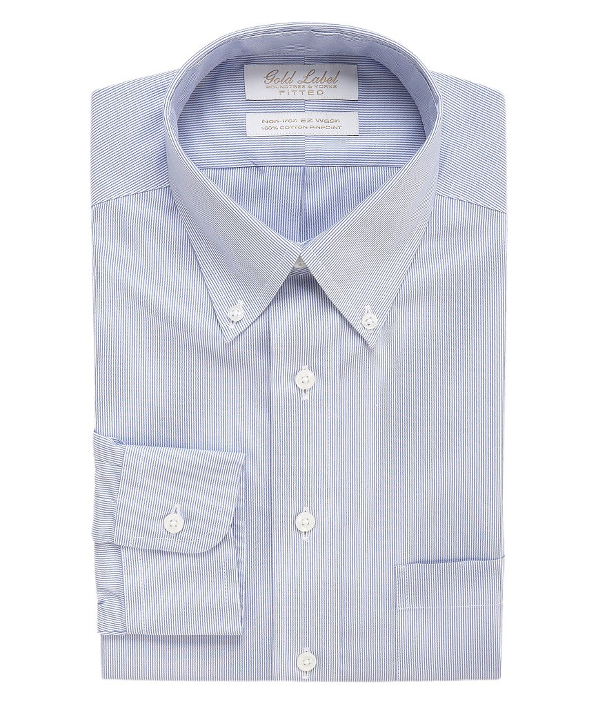 Gold Label Roundtree & Yorke Striped Non-Iron Fitted Classic-Fit Button-Down Collar Dress Shirt