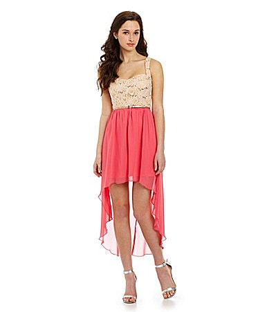 Jodi Kristopher Lace Hi-Low Dress