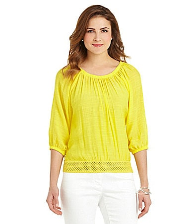 Multiples Raglan-Sleeve Gauze Top plus size,  plus size fashion plus size appare