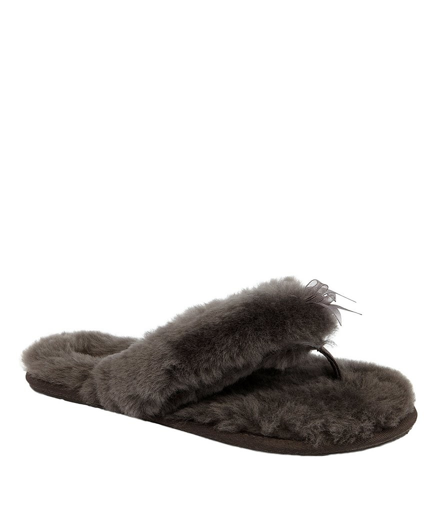 UGG® Fluff Ribbon Bow Detail Slippers
