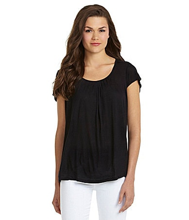 MICHAEL Michael Kors Solid Flutter-Sleeve Pleated Top