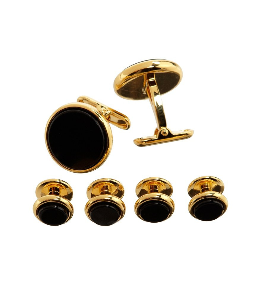 Roundtree & Yorke Onyx Cuff Links & Stud Set