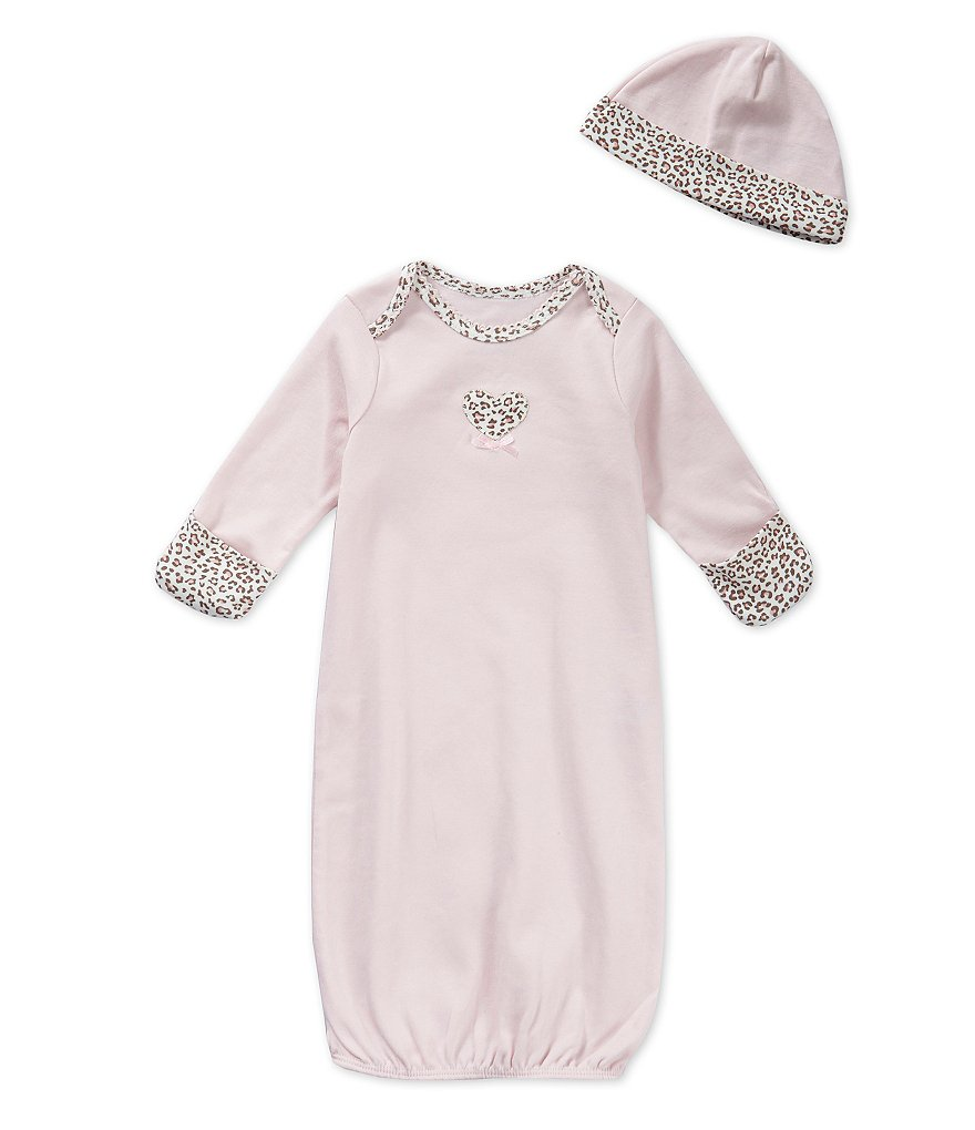 Little Me Baby Girls Newborn-3 Months Baby Leopard-Print Gown & Hat Set