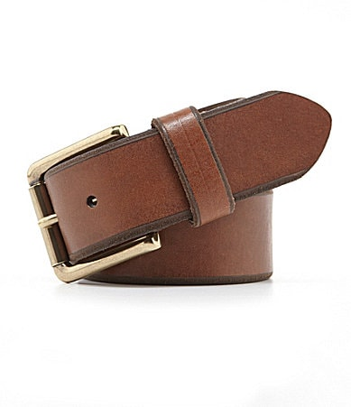 Roundtree & Yorke Embossed-Edge Leather Belt $ 36.00