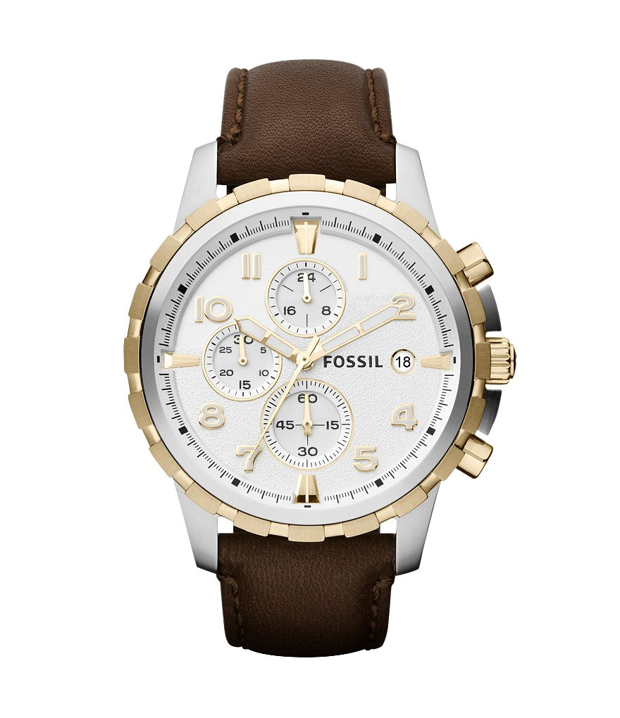 Fossil Dean Leather Strap Stainless Steel Chronograph Watch
