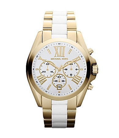 Michael Kors Bradshaw White & Gold Chronograph Watch