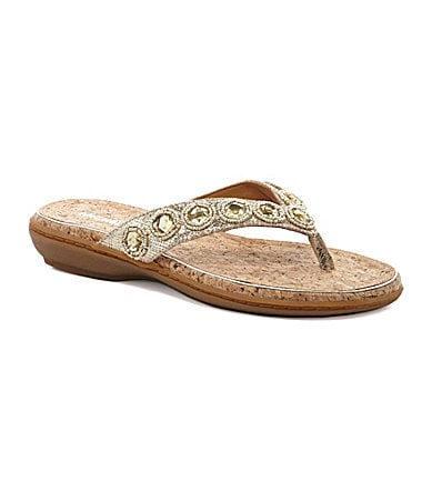 Michelle D. Sandy Jeweled Flip-Flop Sandals