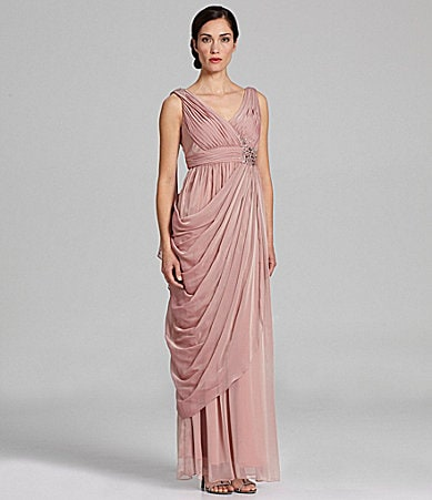 Ignite Evenings Draped Chiffon Gown