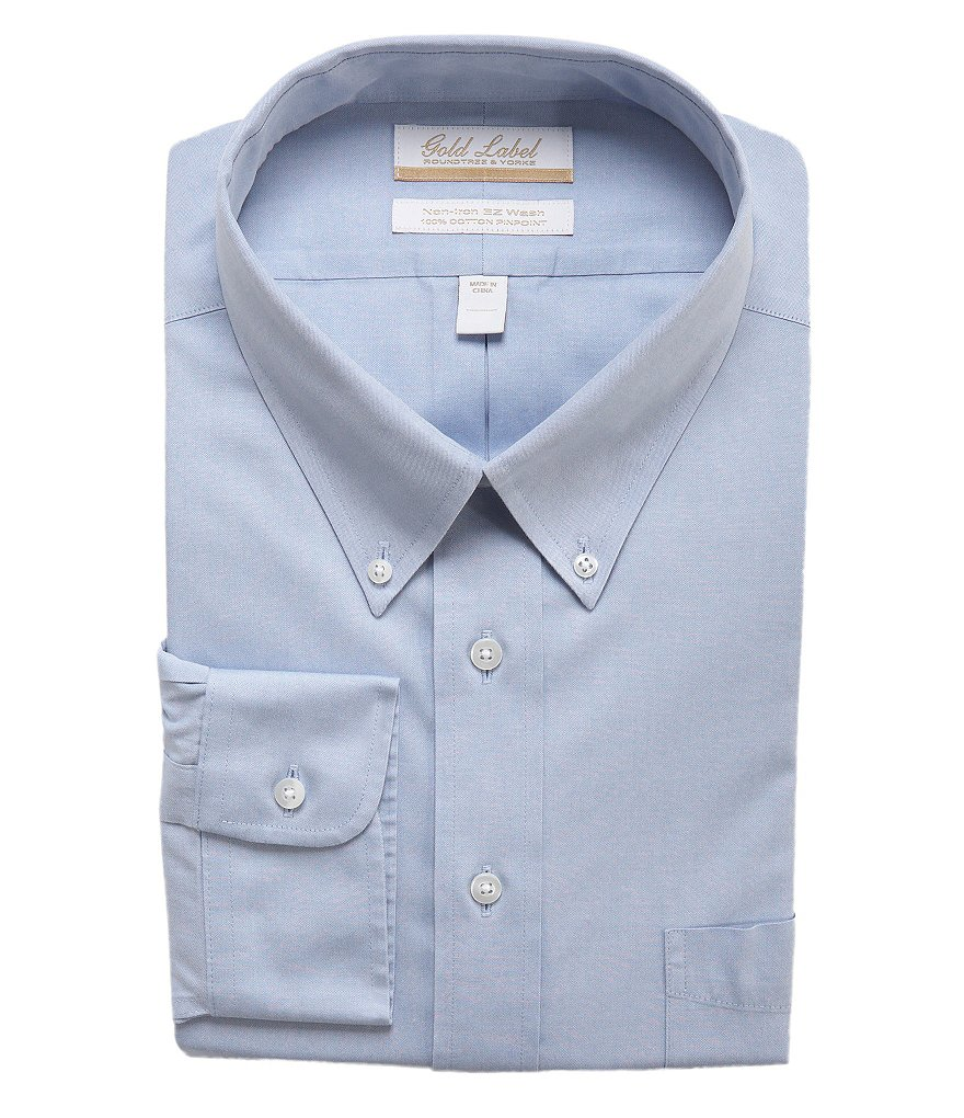 Gold Label Roundtree & Yorke Big & Tall Non-Iron Solid Regular Full-Fit Button-Down Collar Dress Shirt