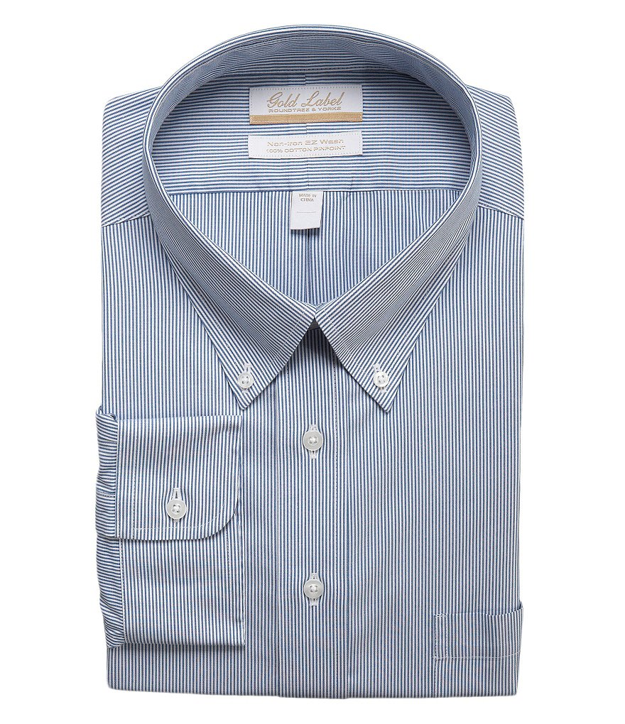 Gold Label Roundtree & Yorke Big & Tall Non-Iron Regular Full-Fit Striped Button-Down Collar Dress Shirt
