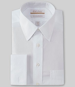 Gold Label Roundtree & Yorke Big & Tall Non-Iron Solid Regular Full-Fit Point-Collar Dress Shirt with French Cuffs