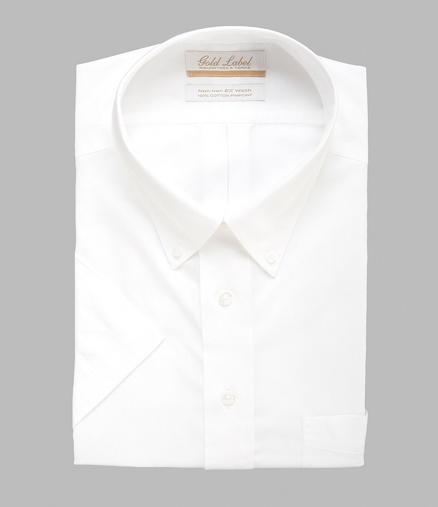 Gold Label Roundtree & Yorke Big & Tall Non-Iron Solid Regular Full-Fit Short-Sleeve Button-Down Collar Dress Shirt