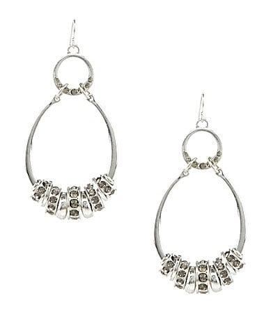 Jessica Simpson Oval Crystal Spacer Earrings