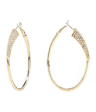 Jessica Simpson Crystal Hoop Earrings