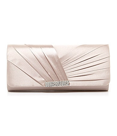 Kate Landry Social Pleated Flap Clutch with Brooch