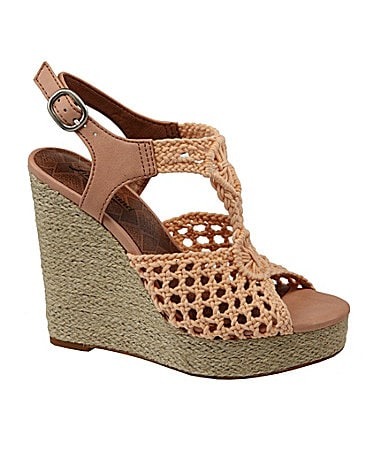 Lucky Brand Rilo Crochet Wedge Sandals