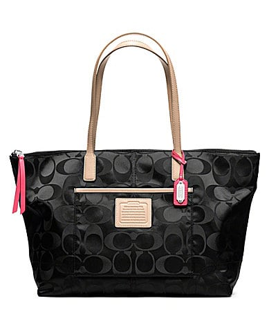 COACH LEGACY WEEKEND SIGNATURE NYLON EAST/WEST ZIP TOP TOTE