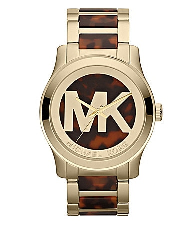 Michael Kors Ladies Tortoise Runway MK Logo Watch