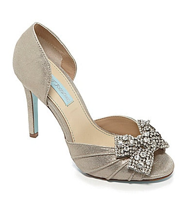 Blue By Betsey Johnson Gown Jeweled Peep Toe Pumps