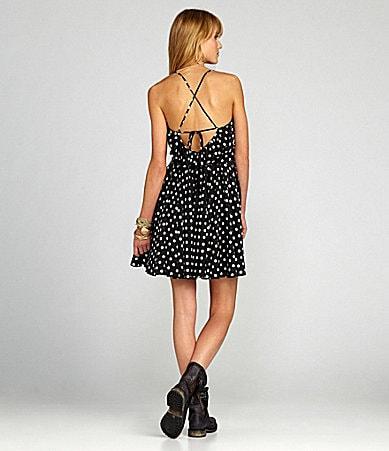 Chelsea & Violet Polka-Dot Crisscross Strap Dress