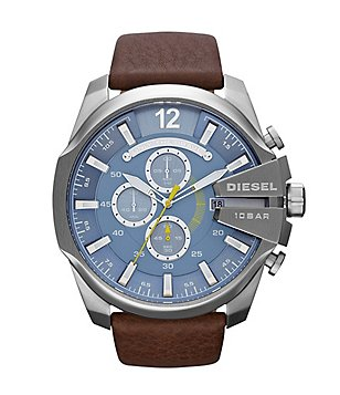 Diesel Men´s Leather Strap Stainless Steel Chronograph Watch