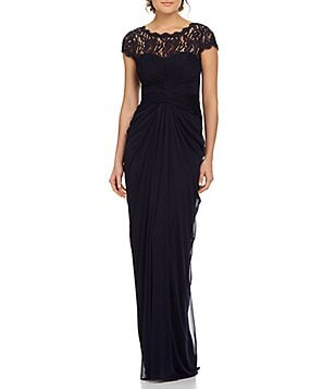 Adrianna Papell Draped Illusion Lace-Neckline Gown
