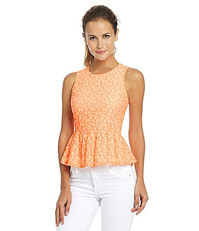 MM Couture by Miss Me Neon Lace Peplum Top