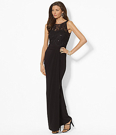 Lauren Ralph Lauren Sleeveless Sequined Lace Gown
