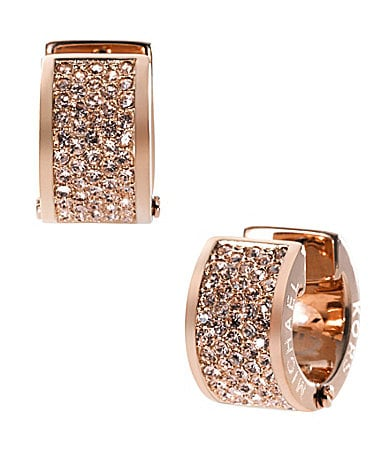 Michael Kors Rose Gold Barrel Huggie Earrings