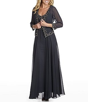 Jkara Plus Beaded Chiffon Jacket Dress