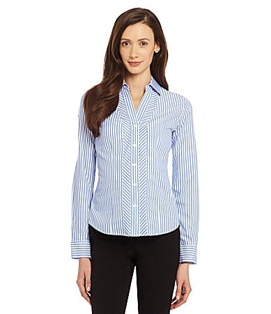 Investments Gold Label Bias Placket Stripe Shirt