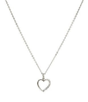 Dillard´s Boxed Collection Cubic Zirconia Heart Chain Necklace