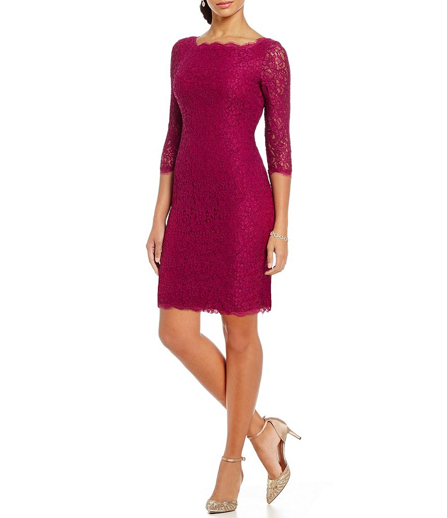 Adrianna Papell Petite Scalloped Lace Sheath Dress