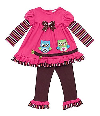 Rare Editions 2T-6X Owl-Appliqued Dress & Leggings Set