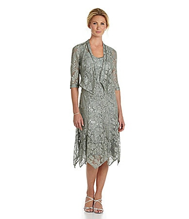 KM Collections Sequined Lace Jacket Dress $ 220.00
