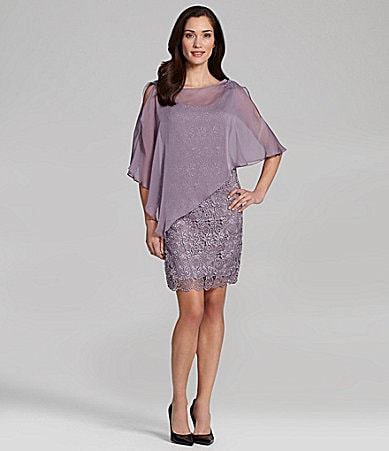 J.R. Nites Metallic-Lace Capelet Sheath Dress