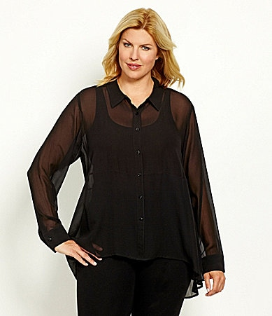 Eileen Fisher Woman Silk Hi-low Shirt